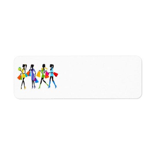 Ilustração das meninas da compra da forma etiqueta endereço de retorno