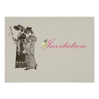 ilustração das senhoras do vintage 1800's convite personalizado