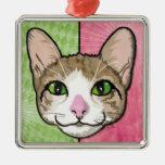 Ilustração de Cat Power Ornamento Quadrado Cor Prata