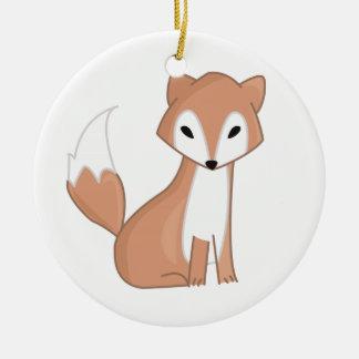 Ilustração de Digitas de um Fox bonito Ornamento De Cerâmica Redondo