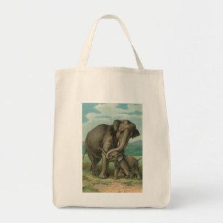 Ilustração de livro do vintage dos elefantes da sacola tote de mercado