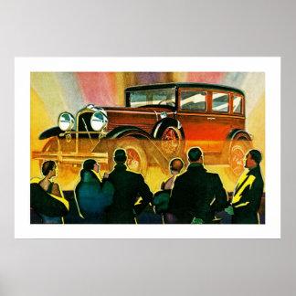 Ilustração do automóvel do art deco posters