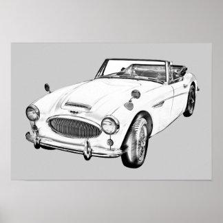 Ilustração do carro de esportes de Austin Healey Impressão
