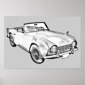 Ilustração do carro de esportes de Triumph Tr4 Impressão