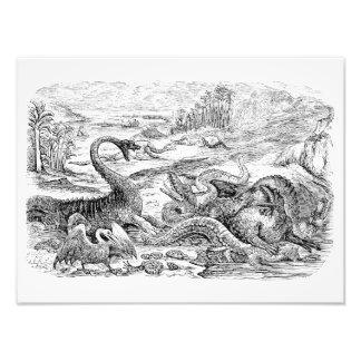 Ilustração do dinossauro dos 1800s do vintage - di impressão de fotos