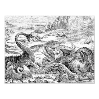 Ilustração do dinossauro dos 1800s do vintage - di impressão de foto