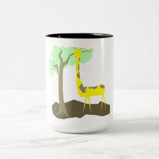 Ilustração do girafa caneca de café em dois tons