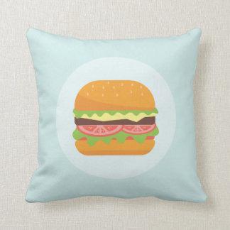 Ilustração do Hamburger com tomate e alface Almofada