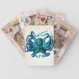 Ilustração do polvo da aguarela cartas de baralho