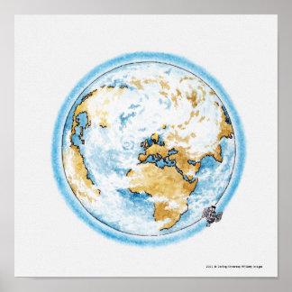 Ilustração do satélite que orbita a terra poster