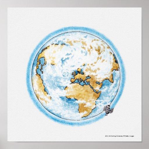 Ilustração do satélite que orbita a terra posteres