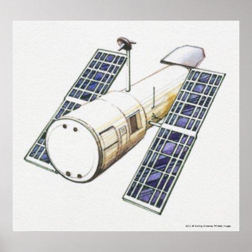Ilustração do satélite usada detectando posters