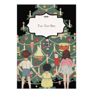 Ilustração do vintage - árvore e miúdos de Natal Convites Personalizados