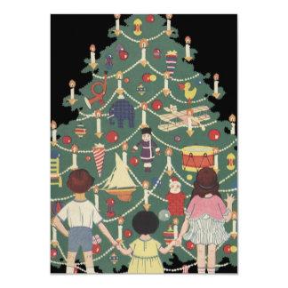 Ilustração do vintage - árvore e miúdos de Natal Convite 11.30 X 15.87cm