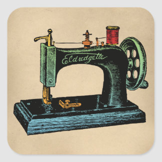 Ilustração do vintage da máquina de costura adesivo quadrado