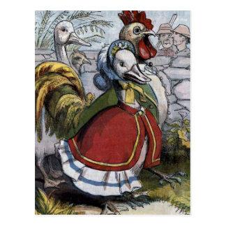 """""""Ilustração do vintage do ganso de mãe velho"""" Cartao Postal"""
