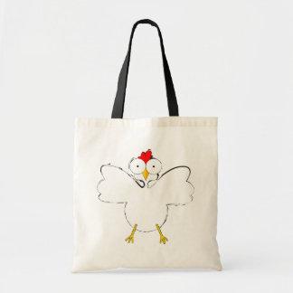 Ilustração dos desenhos animados da galinha sacola tote budget