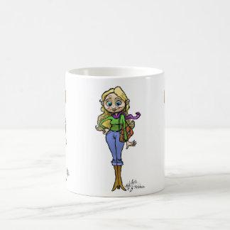 Ilustração dos desenhos animados da mulher da caneca de café