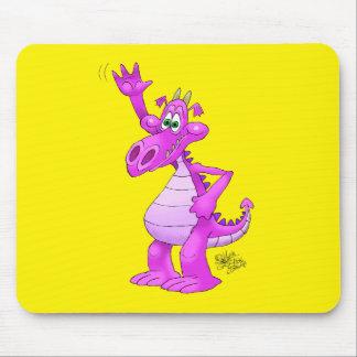 Ilustração dos desenhos animados de um dragão roxo mouse pad