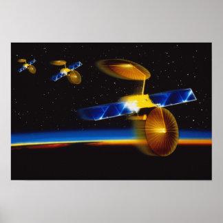 Ilustração dos satélites sobre o horizonte da terr impressão
