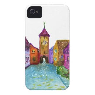 Ilustração européia colorida da cidade da aguarela capa para iPhone 4 Case-Mate