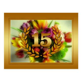 ilustração floral de um aniversário de 15 anos cartão postal