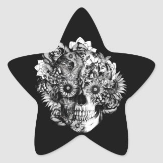 Ilustração floral do crânio do ohm no branco preto adesito estrela