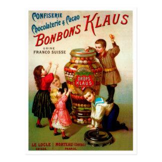 Ilustração francesa da propaganda dos doces do cartão postal
