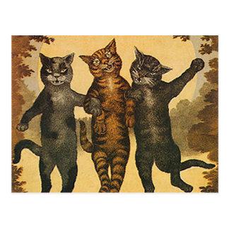 Ilustração média louca do vintage de três gatos cartão postal