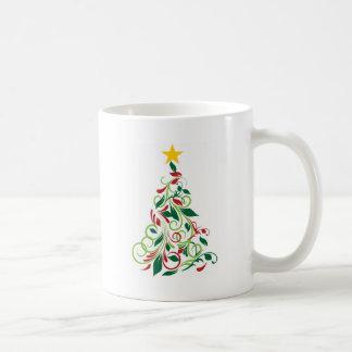 Ilustração moderna elegante da árvore de Natal Caneca De Café