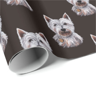 Ilustração ocidental do cão de Terrier das Papel De Presente