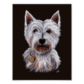 Ilustração ocidental do Pastel do cão de Terrier Pôster