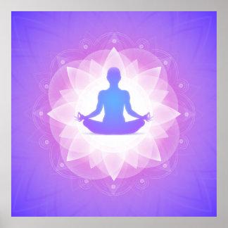 Ilustração roxa da arte da harmonia da ioga pôster
