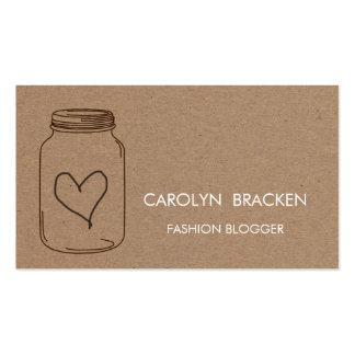 Ilustração rústica do coração do papel de cartão de visita