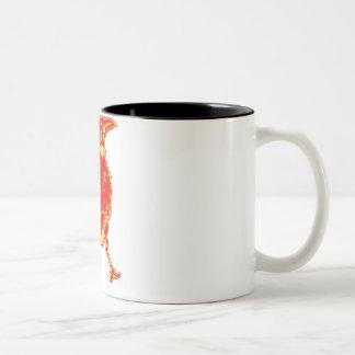 Ilustração solitária do corvo caneca de café em dois tons
