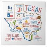 Ilustração Trivet dos marcos do estado de Texas Azulejo Quadrado Grande