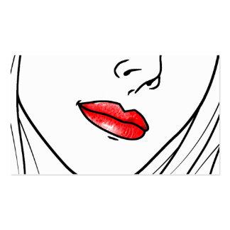 Ilustração vermelha do batom cartão de visita