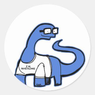 Im dinossauro impressionante adesivo em formato redondo