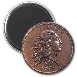 Imã 1793 moedas de um centavo de fluxo dos E.U. do