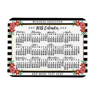 Ímã 2018 costume floral das listras | do calendário