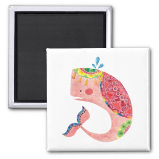 Imã A baleia cor-de-rosa feliz