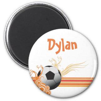 Imã A bola de futebol ostenta o nome personalizado