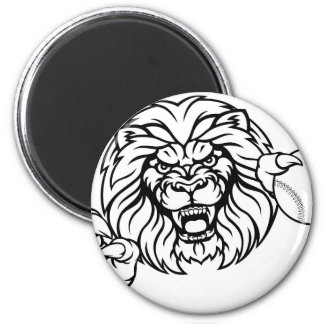 Imã A bola do basebol do leão ostenta a mascote