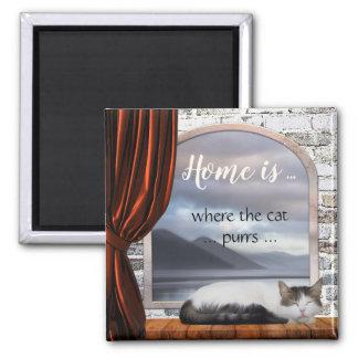 Imã A casa bonito é o lugar onde o gato ronrona o ímã