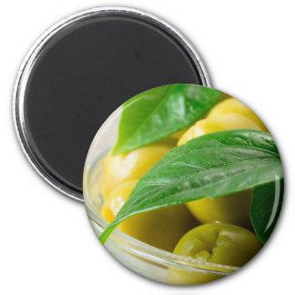 Imã A ideia macro das azeitonas com verde deixa o