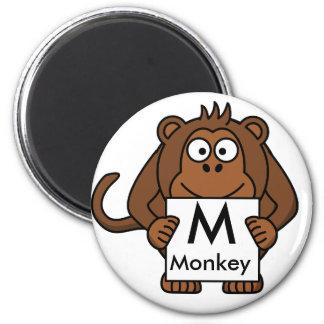 Imã A letra M é para o ímã das crianças do macaco