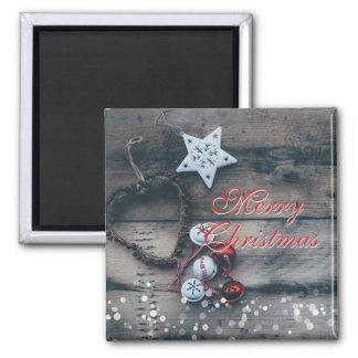 Imã A madeira rústica do Feliz Natal Ornaments o tinir