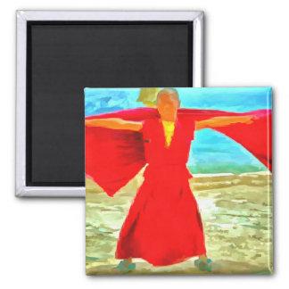 Imã A monge super do ajustado no vermelho