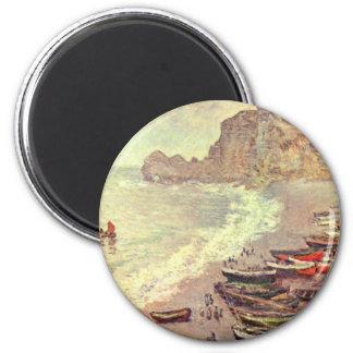 Imã A praia em Etretat - Claude Monet