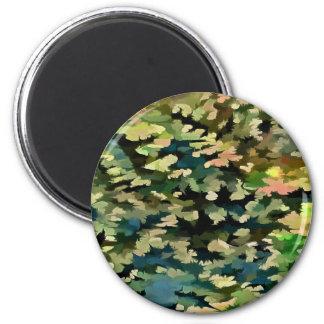 Imã Abstrato da folha no verde, no pêssego e no azul